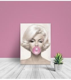 pr1841a Πίνακας σε καμβά Marilyn Monroe Pink Bubble