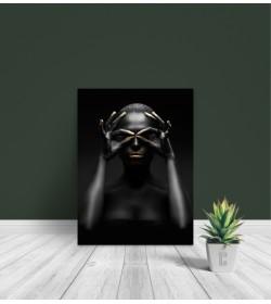 Πίνακας Σε Καμβά : woman dark skin gold makeup art 6