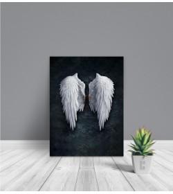 Πίνακας Σε Καμβά : Μαύρος - Μπλέ με Φτερά Αγγέλου
