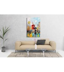 Πίνακας σε Καμβά : Women Umbrella red windmill