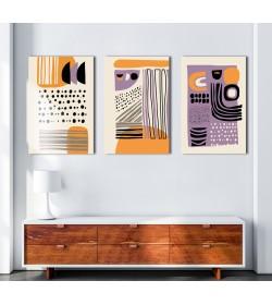 Σύνθεση Με Πίνακες Καμβάδες 30x40 - 3 Τεμάχια - Abstract Symbols