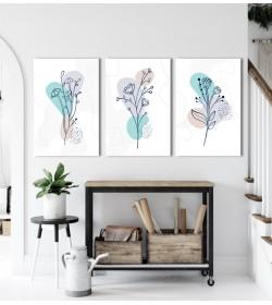 Σύνθεση Με Πίνακες Καμβάδες 30x40 - 3 Τεμάχια - Minimalist flowers and leaves line
