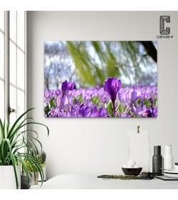 Πίνακας Σε Καμβά Μώβ Λουλούδια
