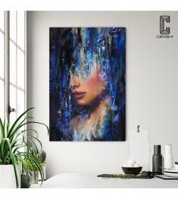Πίνακας σε καμβά Lady Painting blue color
