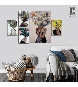 Σύνθεση με πίνακες Καμβάδες με Πρόσωπα Λουλούδια - 4 Τεμάχια 30x 20 & 1 Tεμάχιο 60 X 40