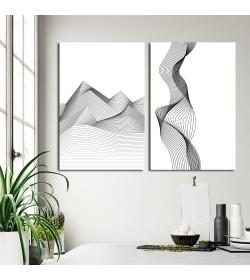 Σύνθεση με πίνακες καμβάδες 60x40 - 2 Τεμάχια - Dynamic Wave Pattern